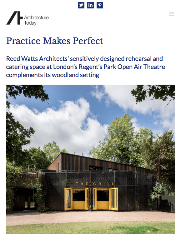 Screen shot from Architecture Today website showing our open air theatre project